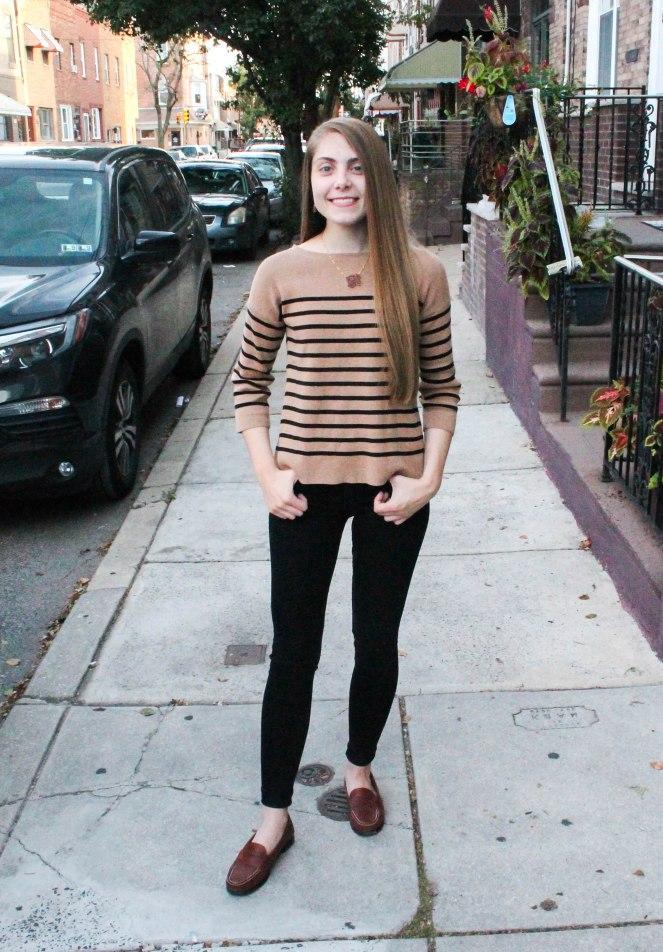 camel striped sweater-1