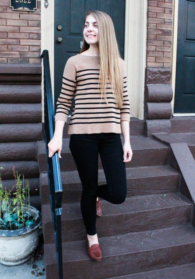 camel striped sweater-3